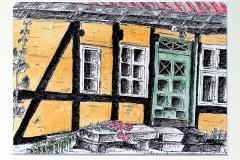 Huisje Mon - DK vooraanzicht, 28x20 cmt