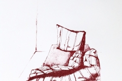 Bed - litho - rode druk, 35x42 cm cm