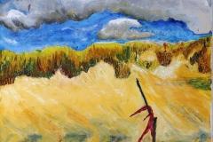 Strandbeeld met stok, 40x30 cm