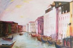 Venetie vanaf Rialtobrug (privé bezit), 100x80 cm